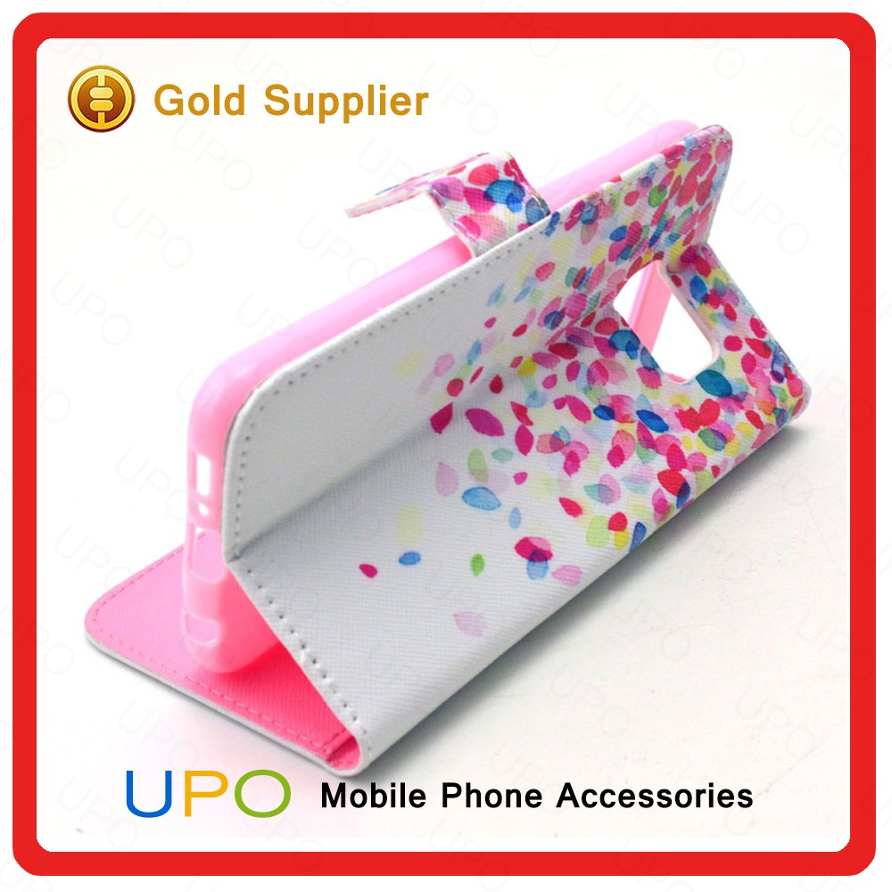 [UPO] Wholesale Smartphone Sublimation Stand Phone Case Flip Cover Leather Case for Samsung Galaxy S6 Case