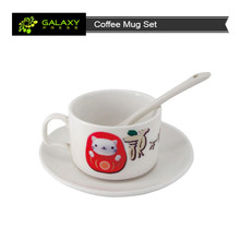 Sublimation coated blank ceramic coffee mug sets with dishware and spoon