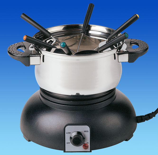 Stainless steel chocolate cheese fondue set for 6 persons