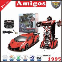 promotional 2.4G RC battery included with transformation robot wholesale stunt rc car