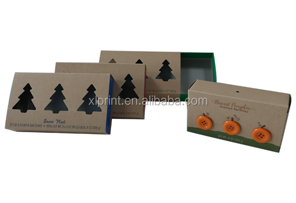 Recycled Kraft Packaging Paper Gift Box with tree shape window for christmas