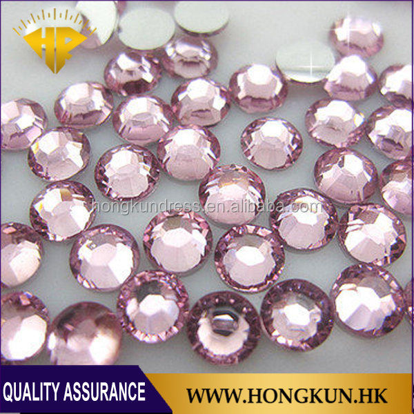 HONGKUN SS10 LT.pink not hot fix rhinestone for Nail art rhinestone.