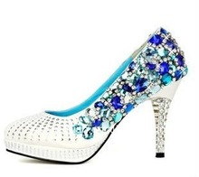 JWS027 Custom made high heels 2013 couture women's blue rhinestone shoes for wedding