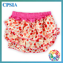 2015 Dot Pattern Hot Pink Wholesale Baby Ruffle Bloomers Baby Diaper Satin Baby Bloomers