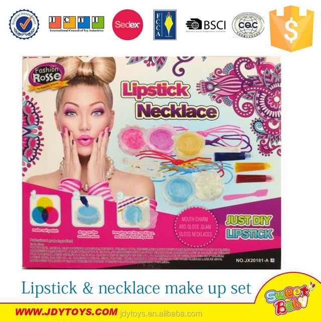 Hot sale DIY lipstick & necklace cosmetic toy set for fashion girl,children cosmetic toy make up toy