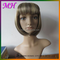 New Arrival Xuchang Factory crazy hair wigs gold color Hot Sale Good Price Synthetic Hair Wig