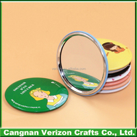 Custom made mini novelty Advertising gifts tinplate round glass cosmetic mirror