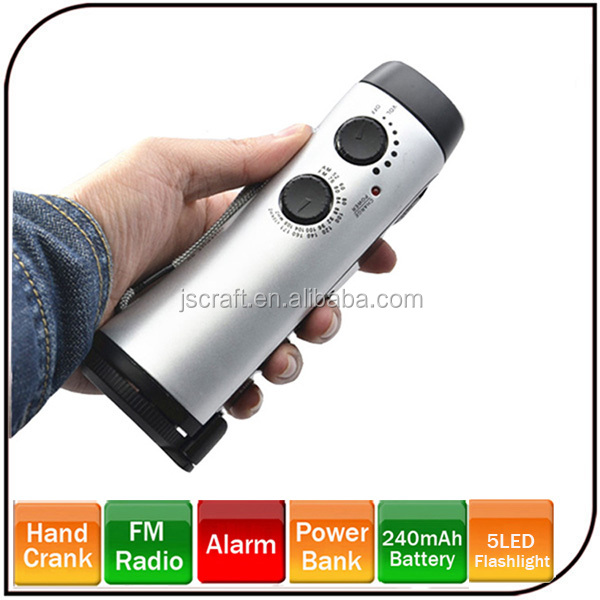 Hot sale Waterproof hand shake torch light rechargeable Emergency Light with FM Radio