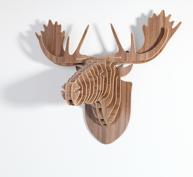 Europe Style DIY Wooden Reindeer Head Hanging Wall Decor Carved Moose Head Ornament Wood Crafts Home Decoration Direct sell