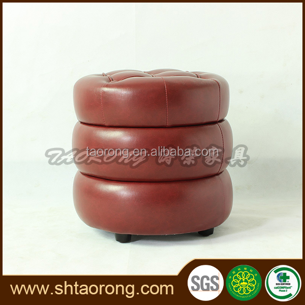 Modern design China made wooden Moroccan leather pouf