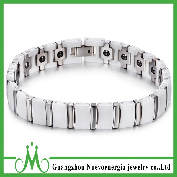 Womens Mens White Ceramic Stainless Steel Magnetic Energy Stone Health Bracelet