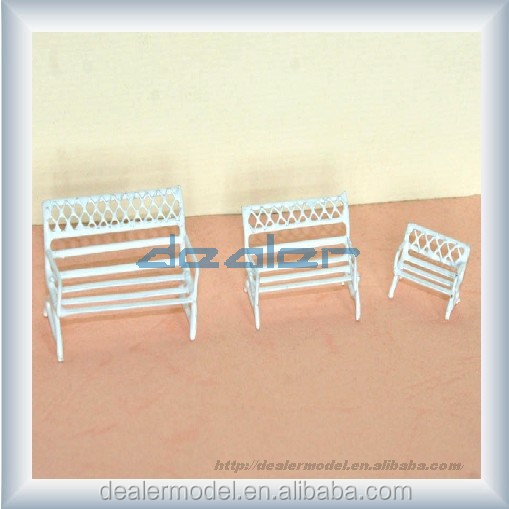 white architectural scale model metal bench
