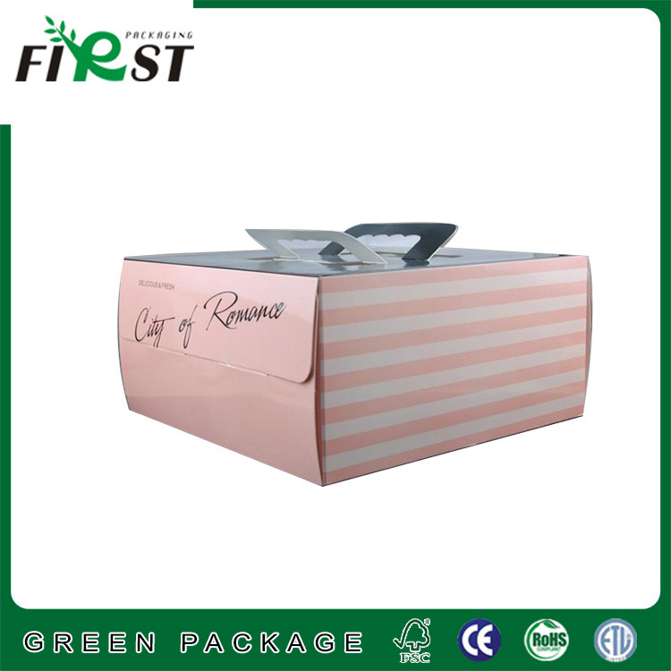 custom cake corrugated paper box with handles, Corrugated carton paper cake box,decorative Corrugated paper cake Box with handle