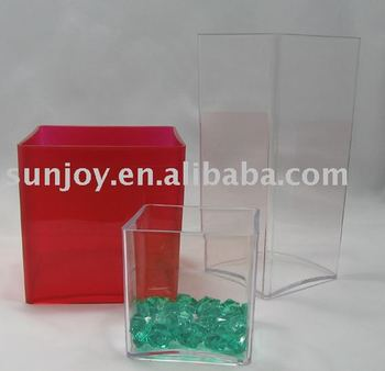 Indoor Clear plastic cylinder vase ( Cube ) Acrylic vase/flower pot