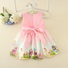 2017 girl dress printing princess boutique outfit children print cotton frocks