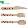 Custom perfect quality wooden kitchen spoons knife fork cutlery set