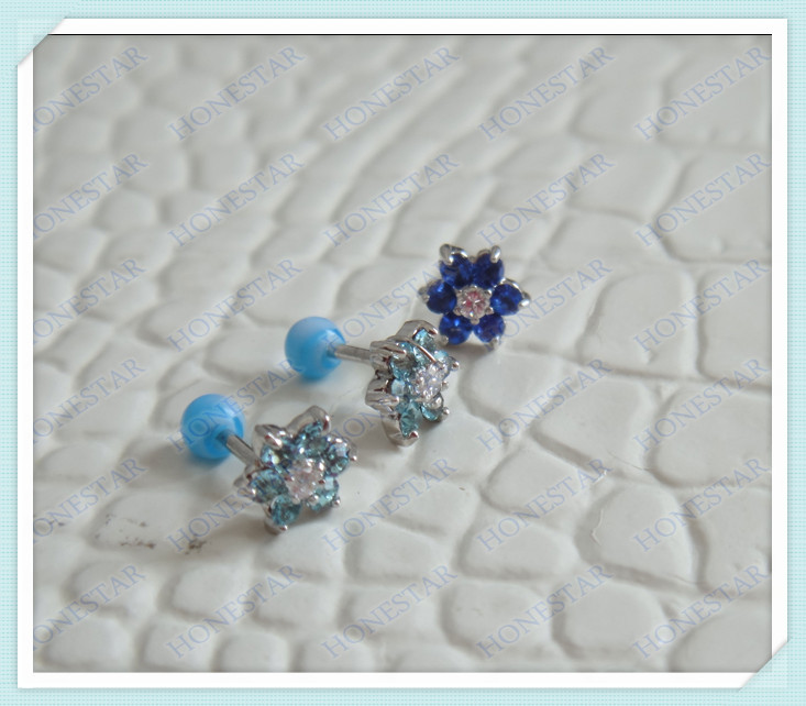 Beautiful flower crystals stainless steel ear stud with acrylic ball