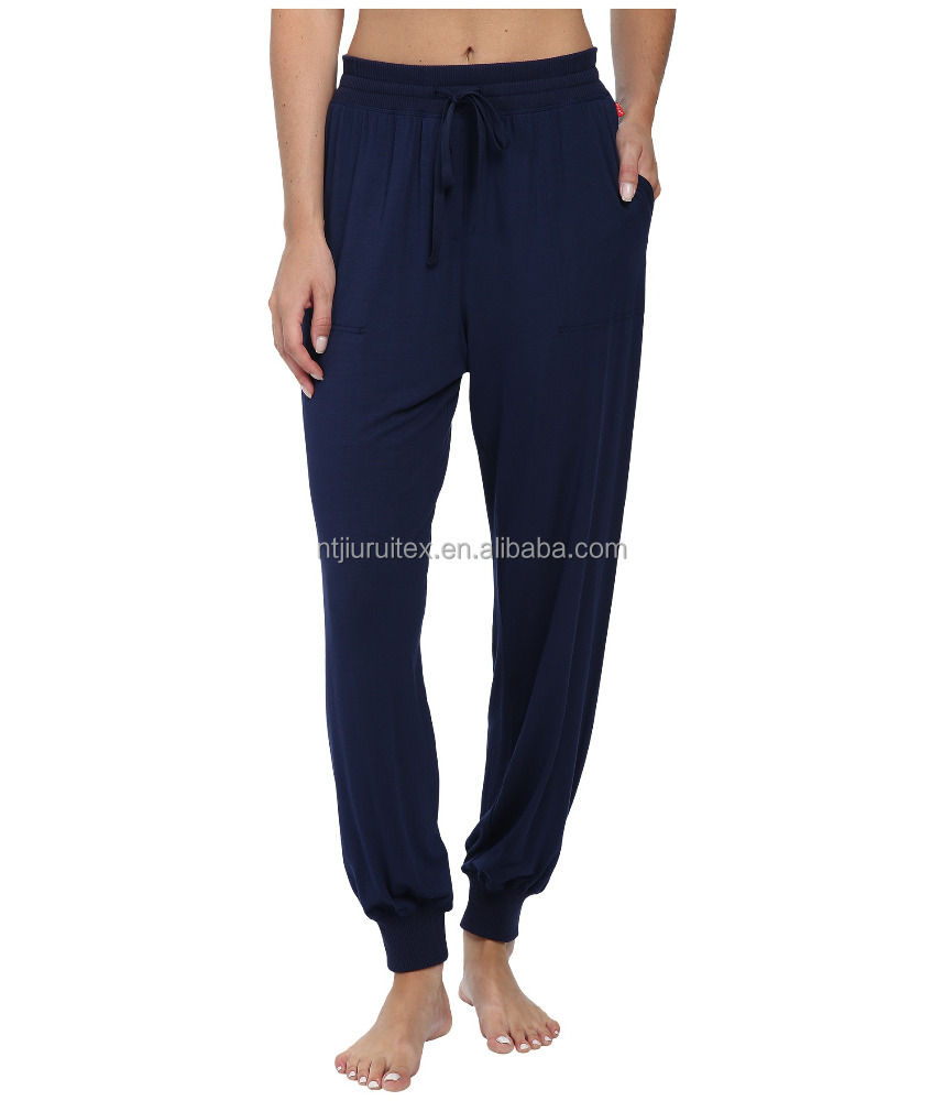 Wholesale Women's 95% Modal 5% Spandex Solid Knitted Jersey Plain Pajama Pants