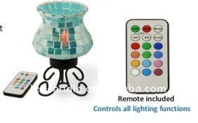 mosaic glass light with metal stand