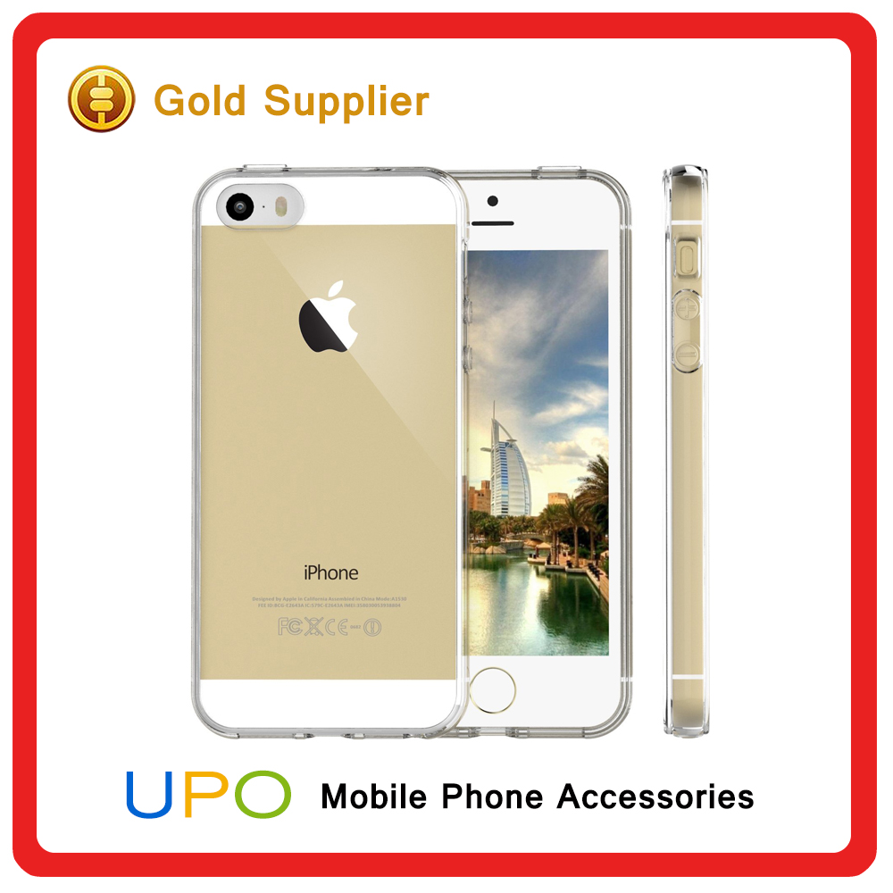 [UPO] Wholesale Clear crystal Hard back Plastic TPU Cell Phone Case cover for iPhone 5 5s