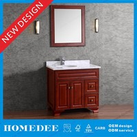 Oak wood mirrored bathroom vanity cabinet with single basin made in china