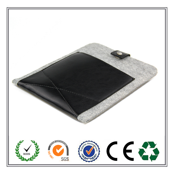 HOT!HOT!HOT! Alibaba china high quality Customized size felt tablet sleeve /felt laptop sleeve with leather