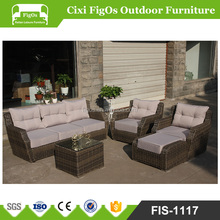 Patio 5 PCS Rattan Wicker Sofa Set Outdoor Garden Furniture Cushioned Sofa Set with Ottoman Brownmixed,No Assembly Required