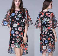 Women Casual korean organza ruffle flounce 1/2 bell sleeves customize fashion floral print Hi-Low beautiful lady one-piece dress