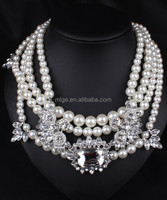 2015 spring summer chuny bib diamond pearl design necklace artificial jewellery necklace N2657