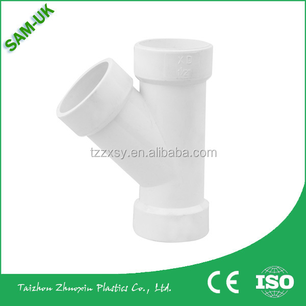 PLASTIC PVC Y-TEE PIPE FITTING FOR WASTING WATER