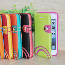 Unique design mobile phone flip cases leather flip cover colorful pu leather flip case for iphone 5c