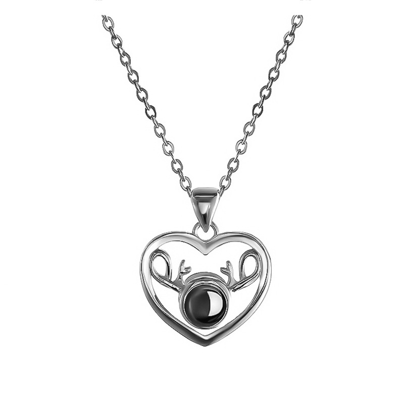 Fashion s925 silver 100 languages I love you pendant jewelry necklace