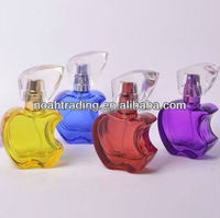 colorful small apple shape glass 20ml perfume bottle, purple bottle perfume, fancy perfume bottle