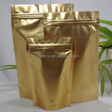 8 cm x 13cm Double face gold Aluminum Foil stand up Zip Lock Bag