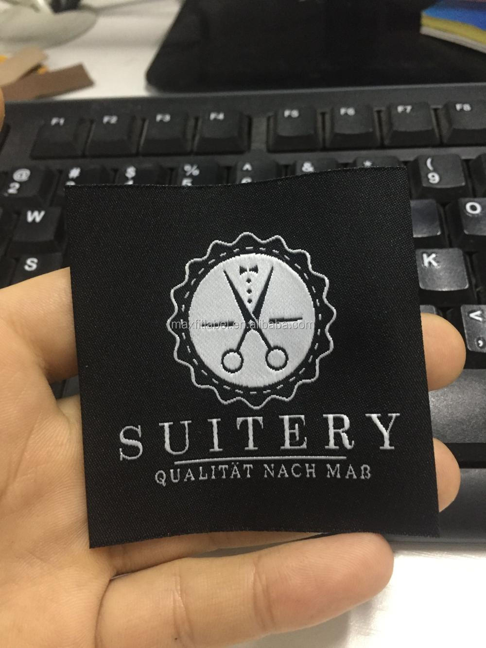 2017 high density damask black woven labels with customized logo