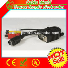 1 to 4 VGA to AV 3 RCA and S-VIDEO F video cable Nickel plated