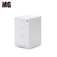 3 Drawers Wooden Mobile Pedestal Laptop Wood Storage Cabinet