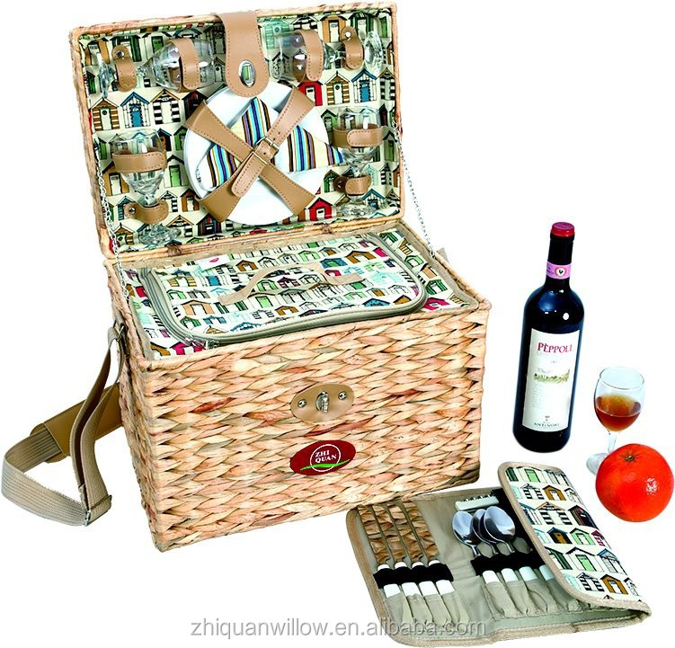 bulrush storage basket with cooler bag and wine holder in China on sale