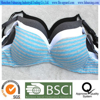2015 hot sell full Cotton elastane stripe print no wire padded sexy cute push up bra lingerie intimate