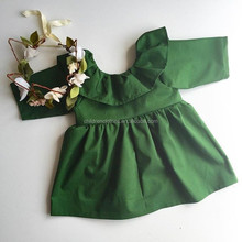 Match Long Sleeve Clothes Name of Dress Material Until Knee Green Girls Dresses