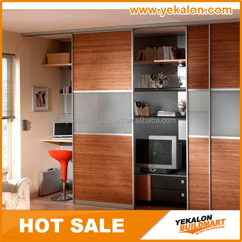 Particle board with melamine and frosted glass inserted sliding door wardrobe/closet