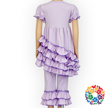 Little Girls Boutique Remake Clothing Sets Solid Light Purple Ruffle Girls Outfits Wholesale Children's Boutique Clothing