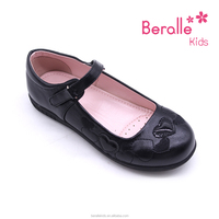 2017 Top Quality pu Leather Buckle Strap Kids Black School Shoes for chidren