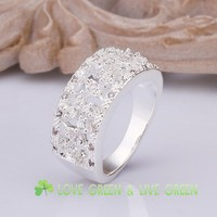 Free shipping 925 sterling silver jewelry factory wholesales fashion Rings for women size 8 Wedding Rings silver 925 312