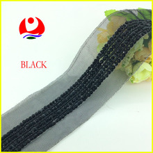 Wholesale Black Sequins Beads Tape Trimmings Hand Sewing Craft Decorative Lace Trimmings