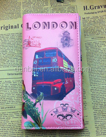 2015 hot sale Retro unique London City red bus stamps printed wallet purses