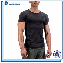 Wholesale Latest Custom Design T Shirt Printing Black Sport Seamless Performance Men's T Shirt