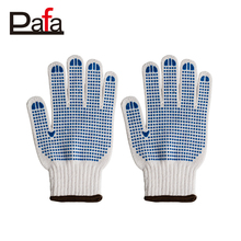 High quality best selling white construction cotton gloves with pvc dot