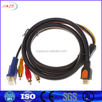 HDMI to VGA HDD 15 Male + RCA cable / Video cable /HDMI 1.3 /3 RCA TO hdmi cable/double colors cable