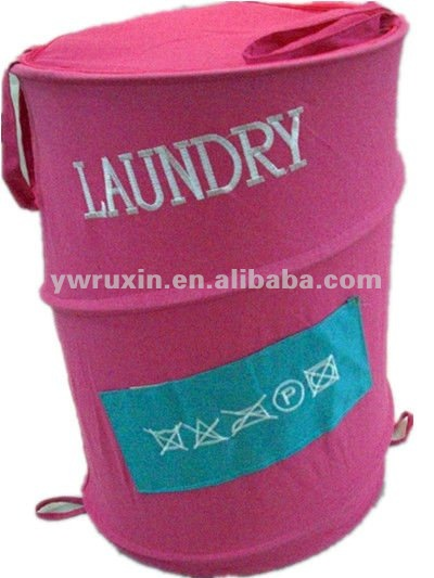 Pop Up canvas folding laundry hamper with two handle/folding embroidery laundry basket